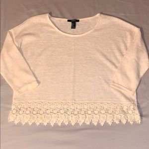Women's 3/4 Sleeve Cropped Shirt with Lace Detail
